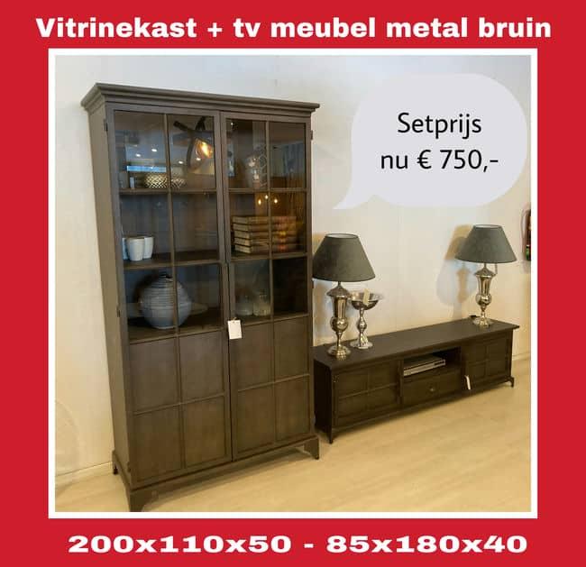 Uitverkoop Showroom setprijs vitrinekast + tv meubel