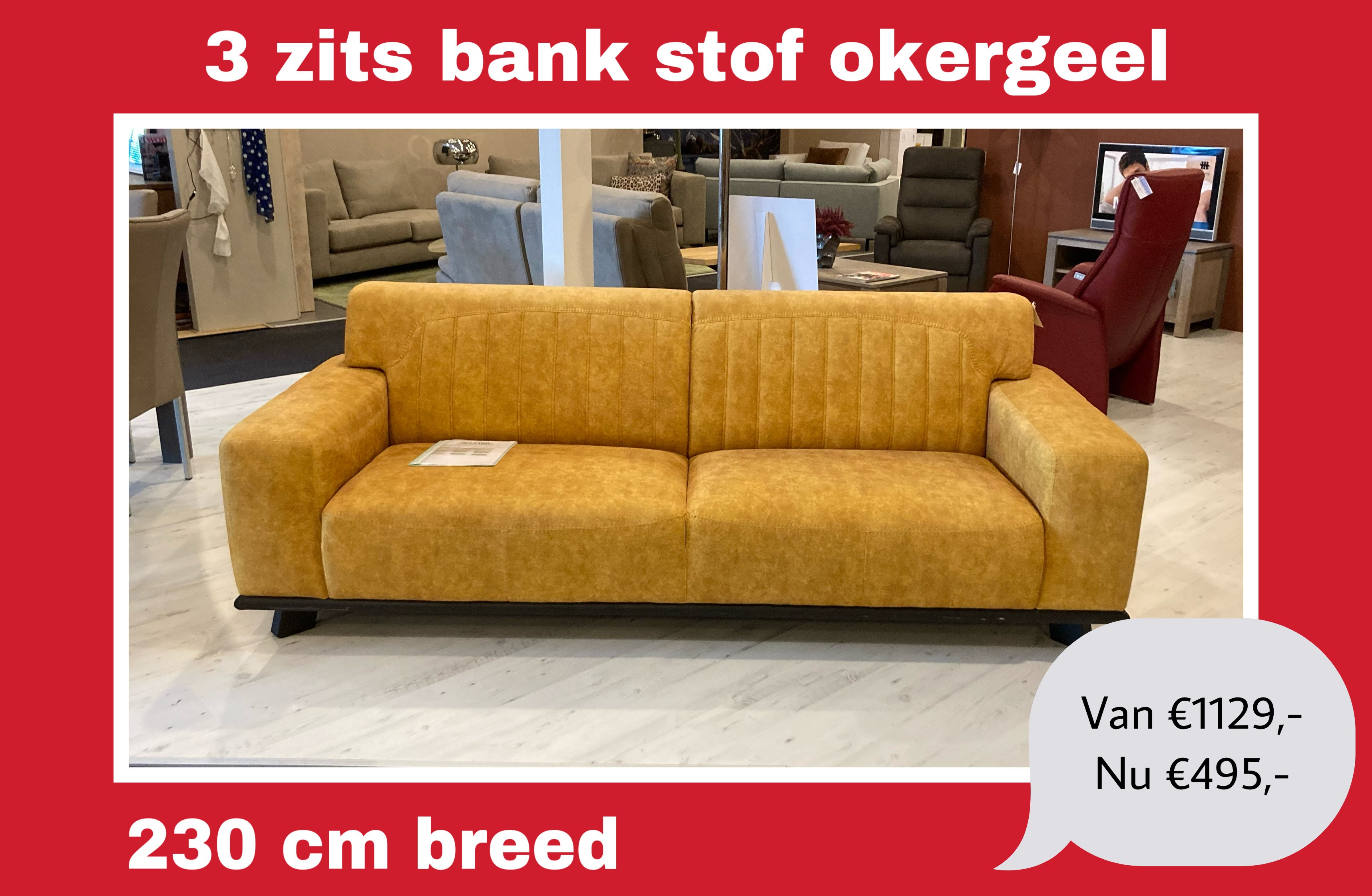 Uitverkoop showroom model 3-zits bank okergeel